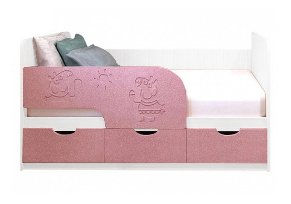 Детская кровать Свинка Пеппа розовый металлик / белый