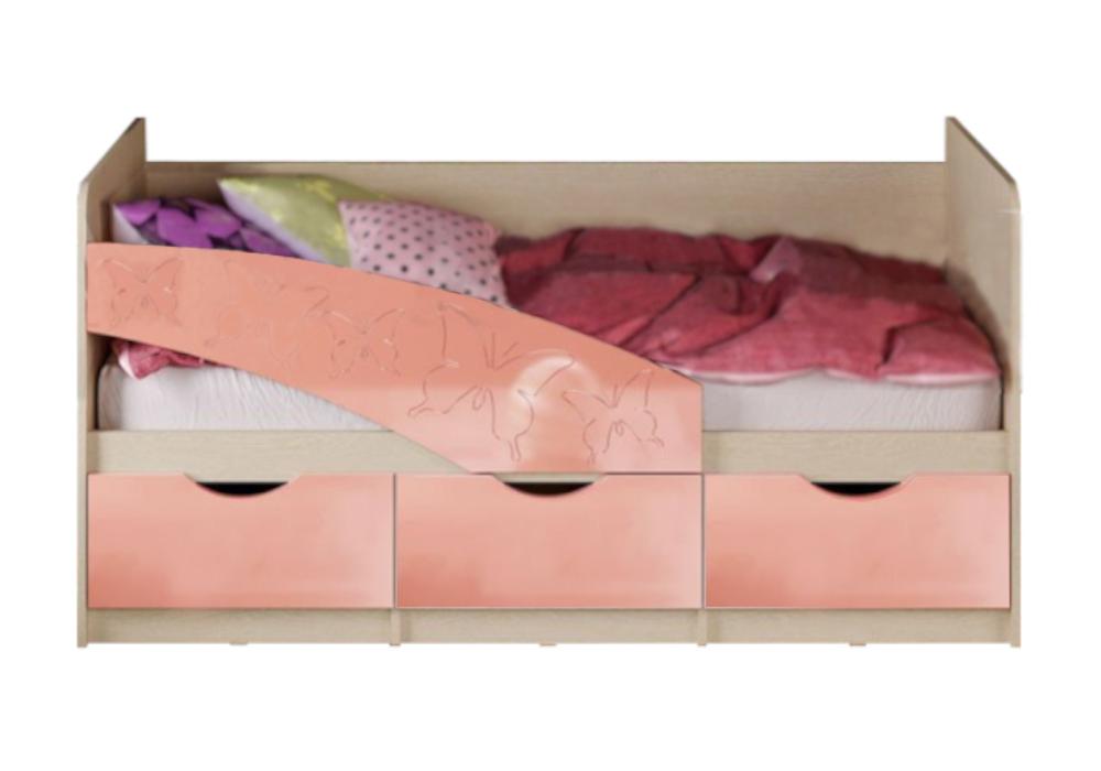 Кровать Бабочки розовый металлик