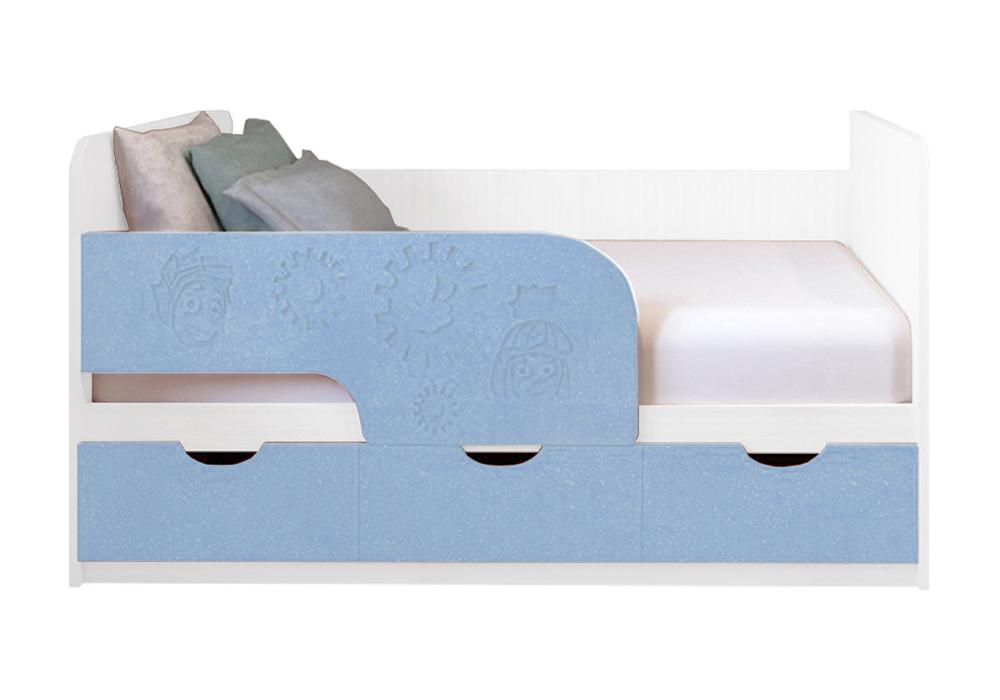Детская кровать Фиксики голубой металлик / белый