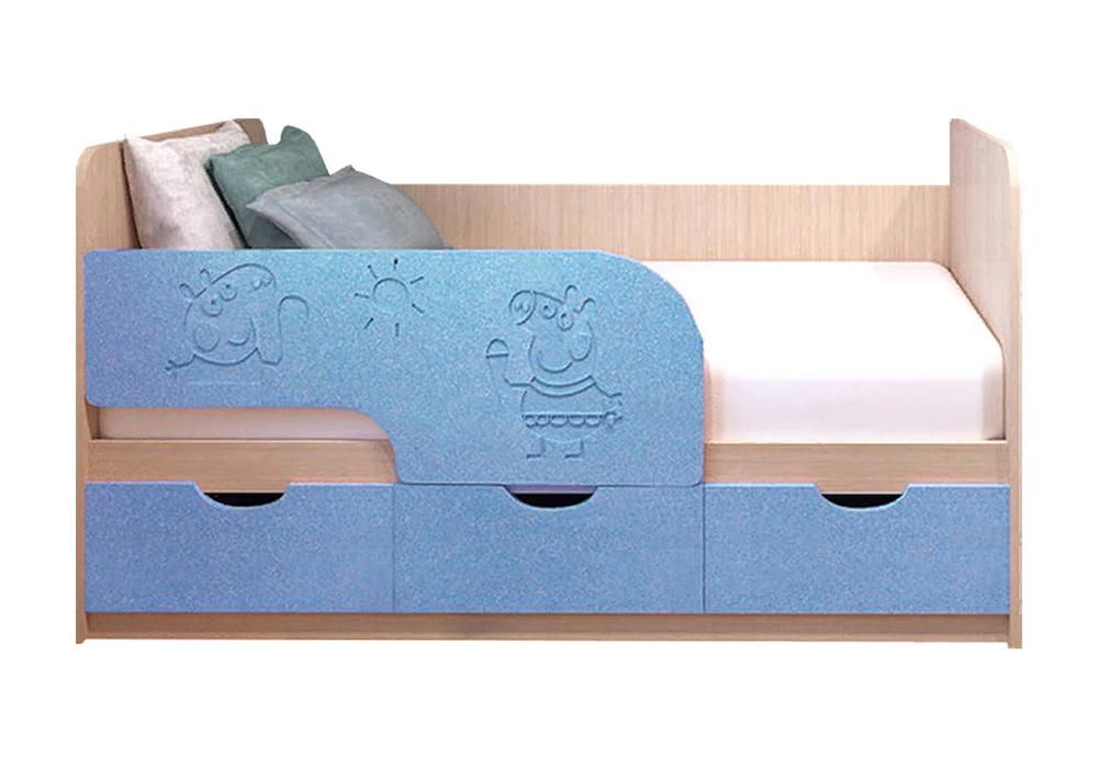 Детская кровать Свинка Пеппа голубой металлик / белфорд