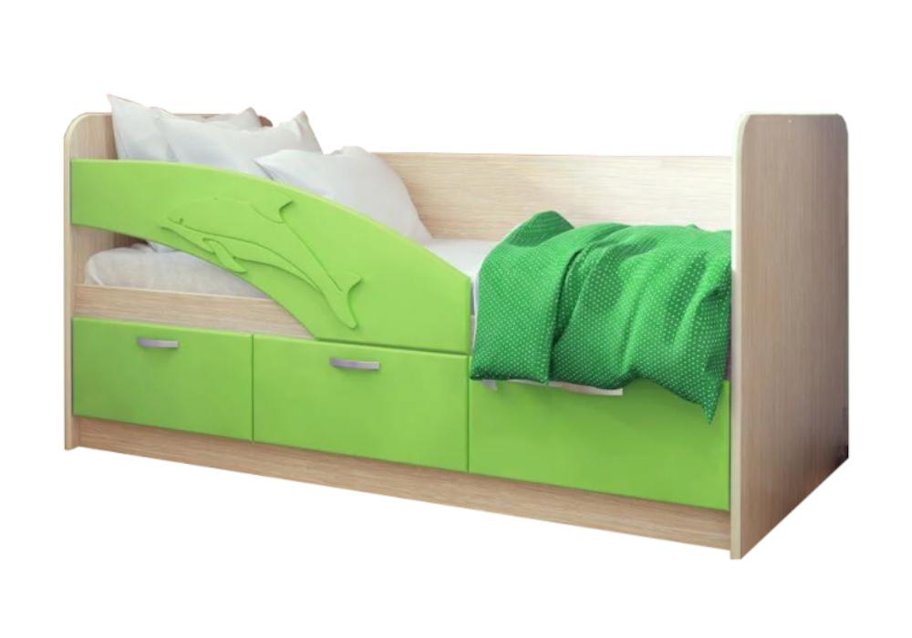 Детская кровать Дельфин-1 салатовый металлик / белфорд