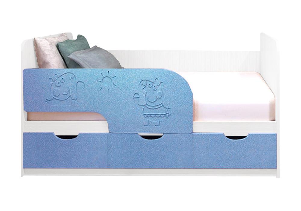 Детская кровать Свинка Пеппа голубой металлик / белый