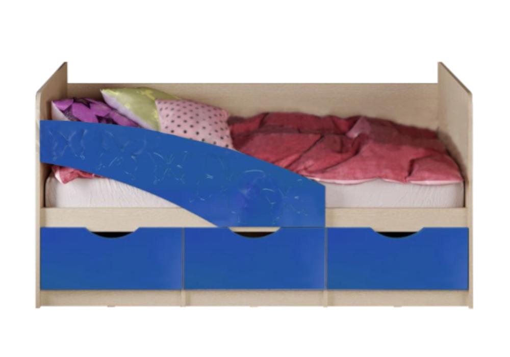 Кровать Бабочки синий металлик