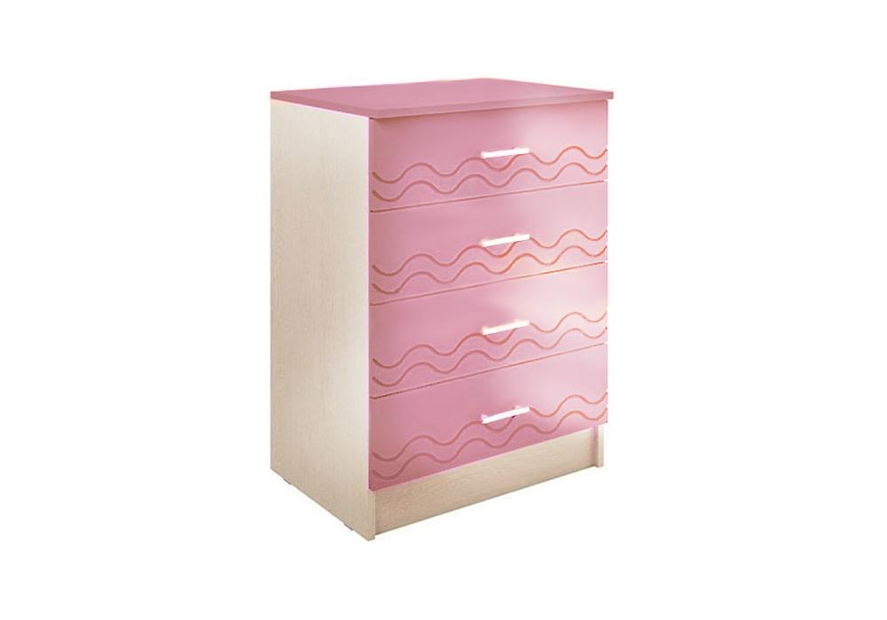 Комод Юниор-2 розовый металлик / дуб беленый