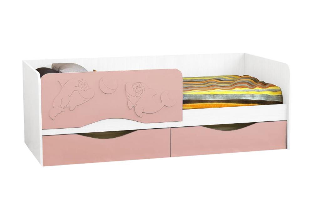 Детская кровать Дельфин-2 розовый металлик / белый