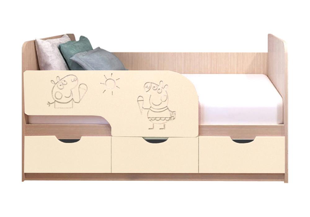 Детская кровать Свинка Пеппа ваниль матовый / белфорд