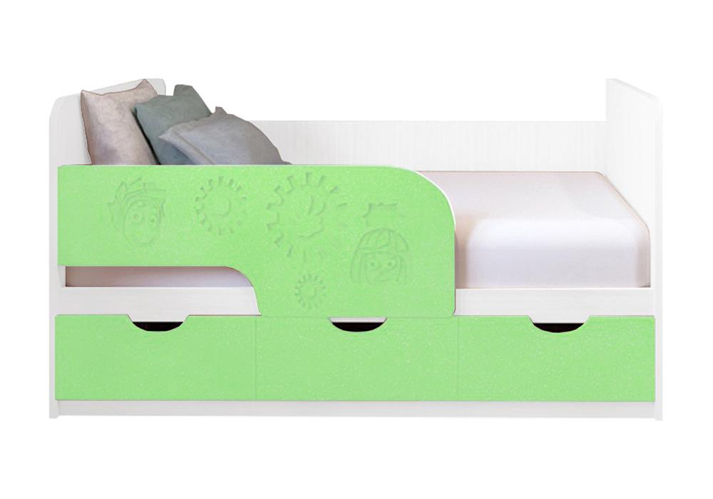 Детская кровать Фиксики салатовый металлик / белый
