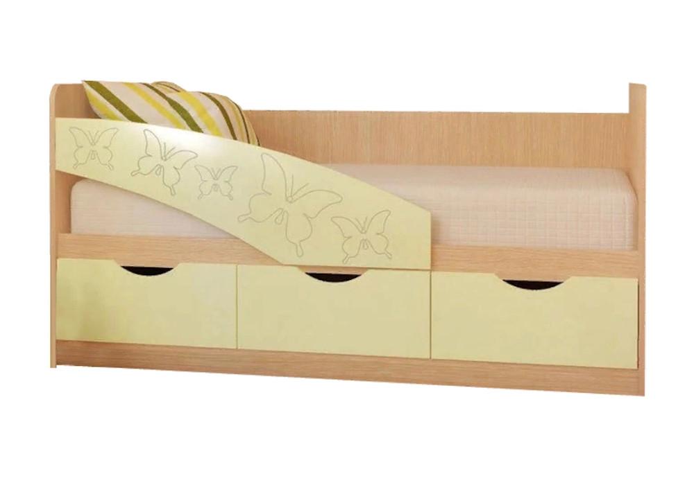 Детская кровать Бабочки ванильный матовый / белфорт