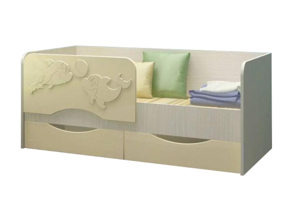Детская кровать Дельфин-2 ваниль матовый / белфорд