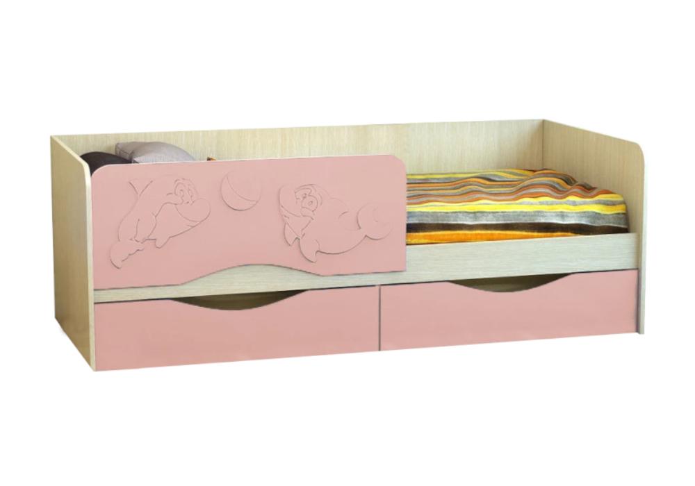 Детская кровать Дельфин-2 розовый металлик / белфорд