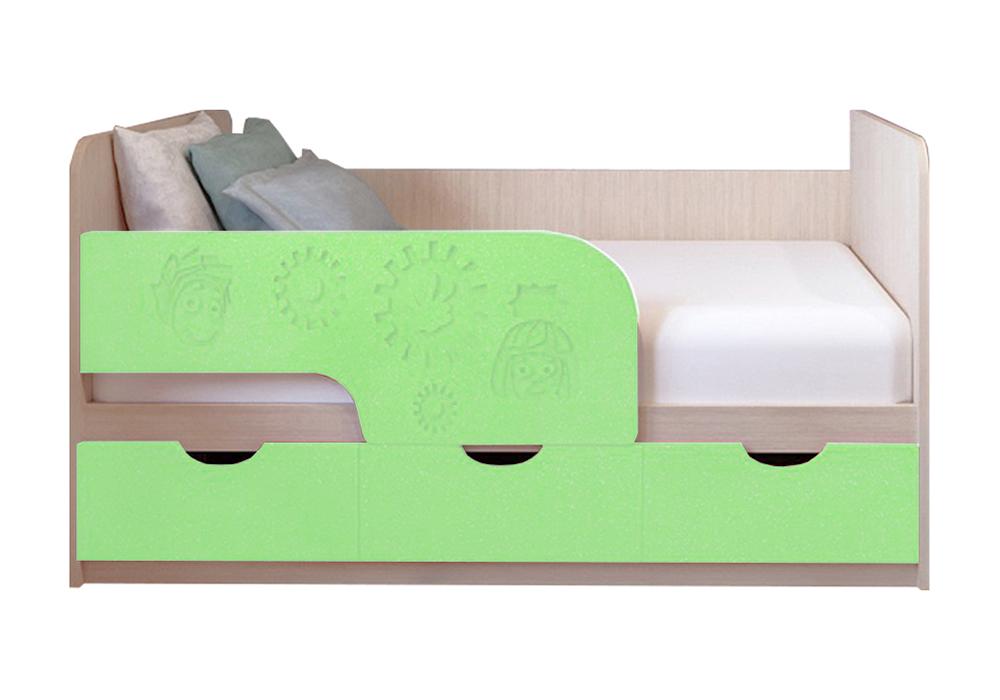 Детская кровать Фиксики салатовый металлик / белфорт
