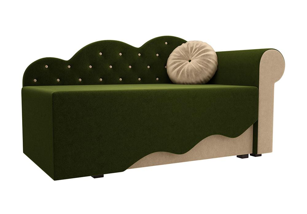 Детская кровать Тедди-1 микровельвет зеленый / бежевый