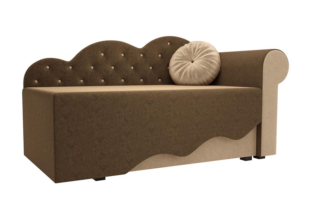 Детская кровать Тедди-1 микровельвет коричневый / бежевый