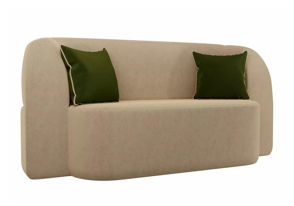 Детский прямой диван Томас микровельвет бежевый / зеленый