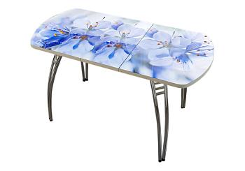 Стол раздвижной голубые цветы