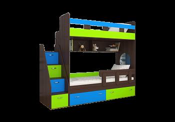 Кровать двухъярусная Юниор-1 голубой / лайм