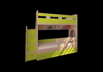 Кровать двухъярусная Юниор-1 дуб молочный / лайм