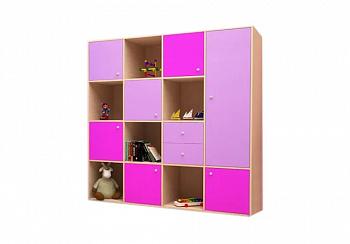 Стеллаж Джери-2 дуб молочный / ирис / розовый