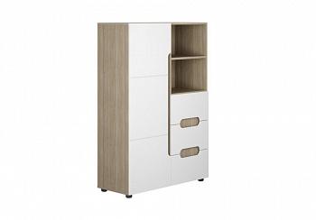 Шкаф 1-створчатый комбинированный Палермо-3 Юниор ясень шимо светлый / белый глянец