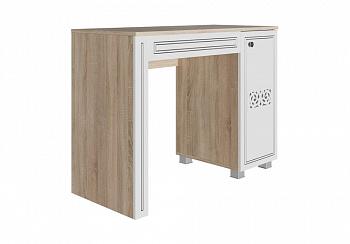 Стол туалетный Мадлен дуб сонома светлый / ясень белый эмаль / серебро