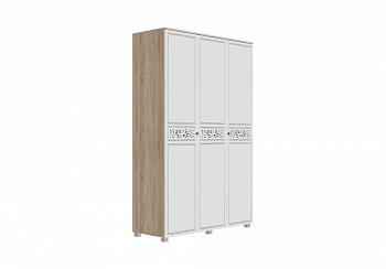 Шкаф 3-створчатый Мадлен дуб сонома светлый / ясень белый эмаль / серебро