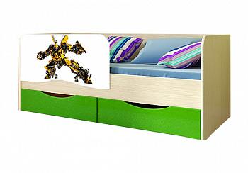 Детская кровать Трансформеры зеленый металлик