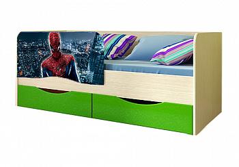 Детская кровать Человек-паук зеленый металлик