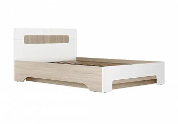 Кровать Палермо-3 1.4 м ясень шимо светлый / белый глянец