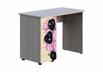 Письменный стол Мийа-3А ясень шимо светлый / бежевый / фотопечать ретро