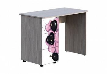 Письменный стол Мийа-3А ясень шимо светлый / белая шагрень / фотопечать ретро