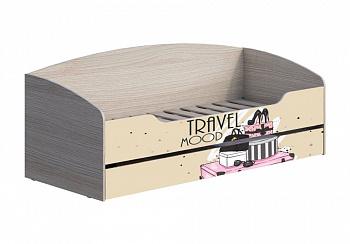 Кровать с ящиком Мийа-3А 0.8 м ясень шимо светлый / бежевый / фотопечать ретро