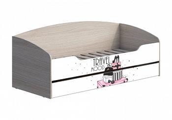 Кровать с ящиком Мийа-3А 0.8 м ясень шимо светлый / белая шагрень / фотопечать ретро