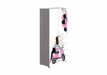 Шкаф 2-створчатый Мийа-3А ясень шимо светлый / белая шагрень / фотопечать ретро