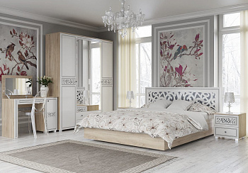Модульная спальня Мадлен дуб сонома светлый / ясень белый эмаль / серебро