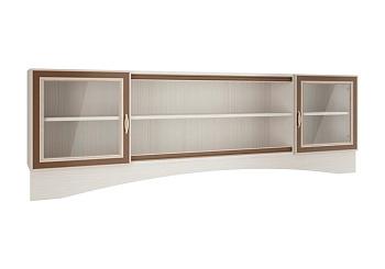 Шкаф навесной со стеклом Миндаль вудлайн кремовый / аруша венге / коричневый