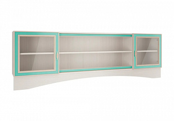 Шкаф навесной со стеклом Миндаль вудлайн кремовый / аруша венге / мята