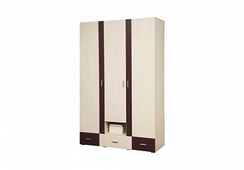 Шкаф 3-дверный Некст вудлайн кремовый / баклажан
