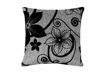 Подушка лилии черные / рогожка серая