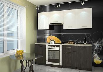 Кухня Адель 2.1 м  венге / белый глянец