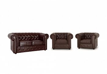 Комплект Честер коричневый с 2-местным диваном