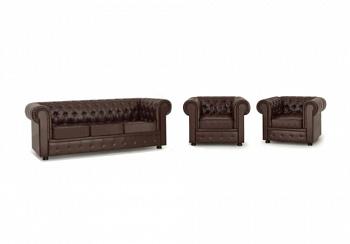 Комплект Честер с 3-местным диваном коричневый
