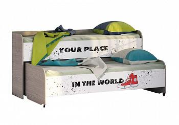 Двухъярусная кровать Мийа-3А ясень шимо светлый / белая шагрень / фотопечать Лондон