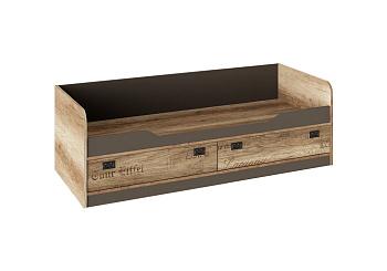 Кровать с 2-мя ящиками Пилигрим дуб каньон светлый / фон серый