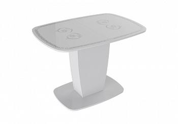 Стол Аризона раздвижной белый глянец / серебро
