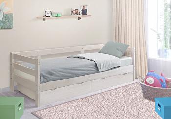 Кровать детская Норка с ящиками выбеленная береза