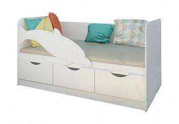 Детская кровать Дельфин-3 белый металлик / белый
