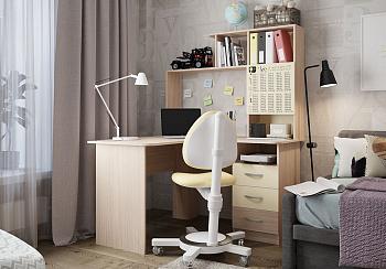 Стол компьютерный угловой Галерея дуб млечный / крем / рисунок школьник