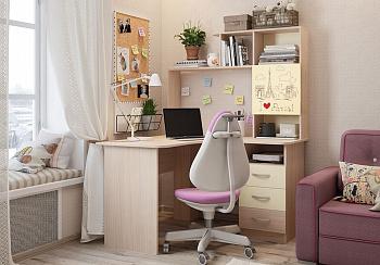 Стол компьютерный угловой Галерея дуб млечный / крем / рисунок Париж