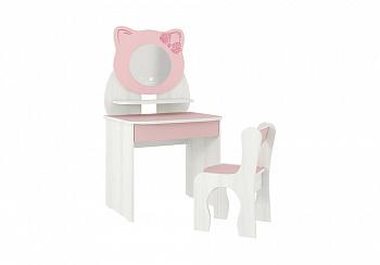 Детский набор Котенок белый рамух / розовый