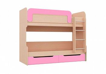 Двухъярусная кровать Юниор-1 розовый / дуб беленый
